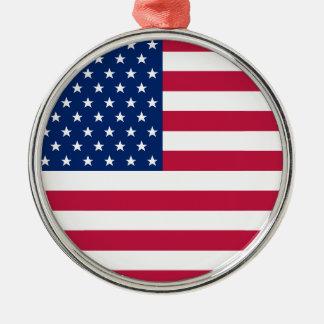 米国の旗の星ストライプなアメリカの愛国心が強いクリスマス メタルオーナメント