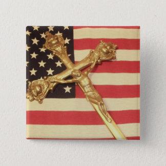 米国の旗の正方形ボタン上のカトリック教の十字架像 5.1CM 正方形バッジ