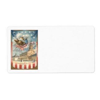 米国の旗の独立ホール自由の鐘 ラベル