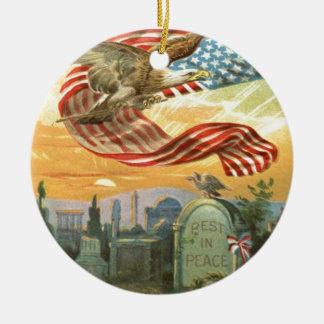 米国の旗の白頭鷲の墓地の墓碑のリース セラミックオーナメント