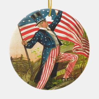 米国の旗の米国市民戦場の大砲 セラミックオーナメント