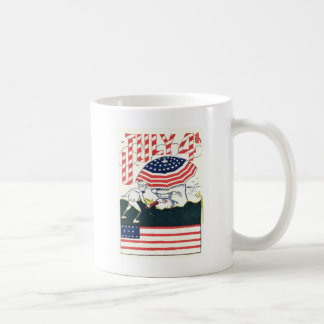 米国の旗の花火の爆竹の悪ふざけ コーヒーマグカップ