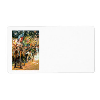 米国の旗の花火の爆竹パレード ラベル