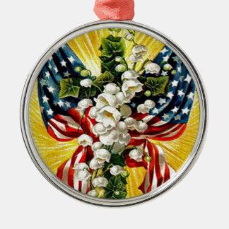 米国の旗の谷のキリスト教の十字の鳩ユリ メタルオーナメント