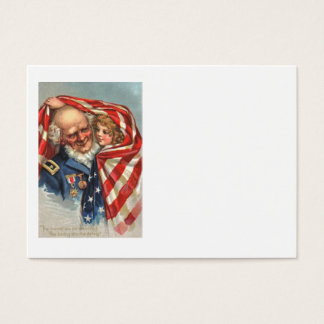 米国の旗の退役軍人の女の子 名刺