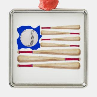 米国の旗の野球のテーマ メタルオーナメント