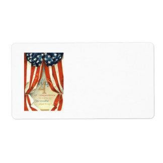 米国の旗は7月第4主演しましたり及び縞で飾ります ラベル