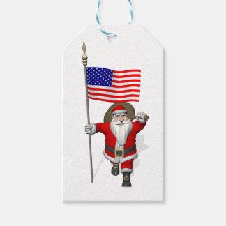 米国の旗を持つサンタクロース ギフトタグ