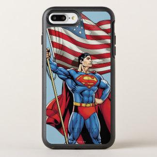 米国の旗を握っているスーパーマン オッターボックスシンメトリーiPhone 8 PLUS/7 PLUSケース