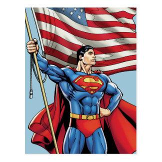 米国の旗を握っているスーパーマン ポストカード