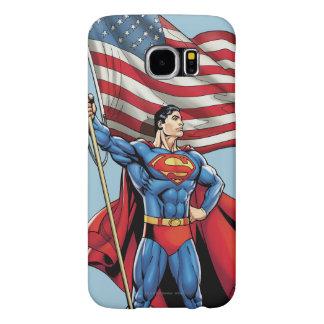 米国の旗を握っているスーパーマン SAMSUNG GALAXY S6 ケース