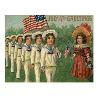 米国の旗パレード海軍ユニフォーム7月第4 ポストカード