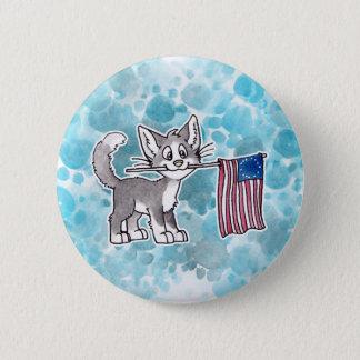 米国の旗猫 缶バッジ