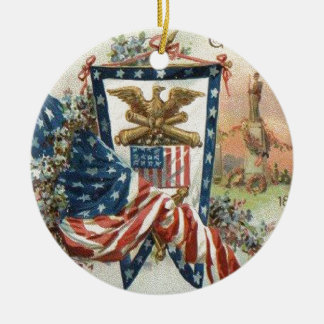 米国の旗記念碑のリースの花 セラミックオーナメント
