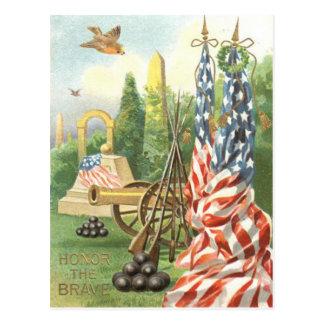 米国の旗記念碑の大砲のライフルの鳴き鳥 ポストカード
