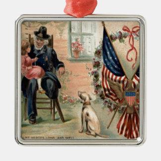 米国の旗連合兵士の退役軍人犬のリース メタルオーナメント