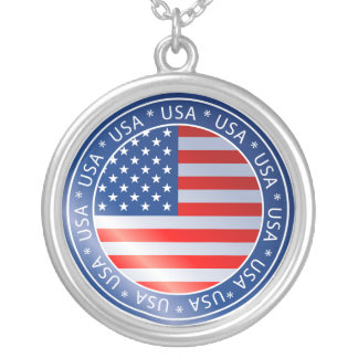 米国の旗 シルバープレートネックレス