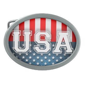 米国の旗 卵形バックル