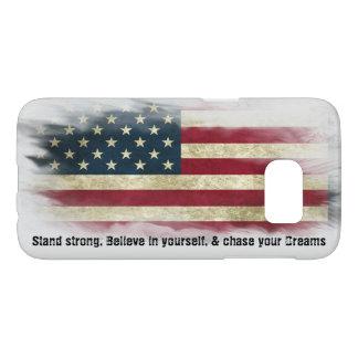 米国の旗。 強い立場はあなた自身で信じます SAMSUNG GALAXY S7 ケース