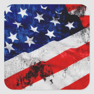 米国の旗 正方形シールステッカー