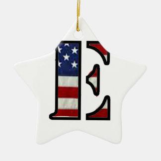 """米国の旗""""E """" セラミックオーナメント"""