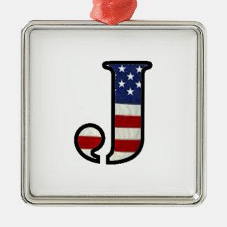 """米国の旗""""J """" メタルオーナメント"""