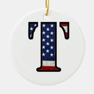 """米国の旗""""T """" セラミックオーナメント"""