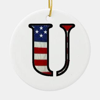 """米国の旗""""U """" セラミックオーナメント"""