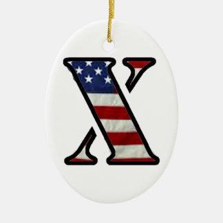 """米国の旗""""X """" セラミックオーナメント"""