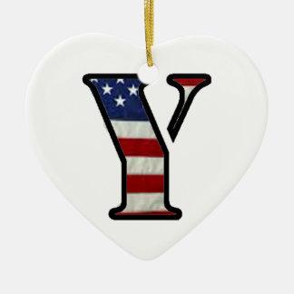 """米国の旗""""Y """" セラミックオーナメント"""
