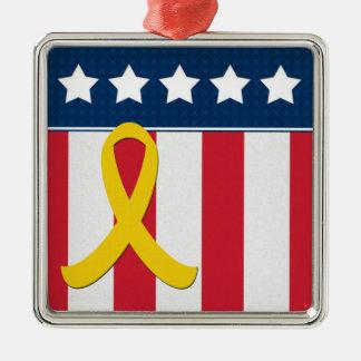 米国の星のストライプの黄色いリボンの銀のオーナメント メタルオーナメント