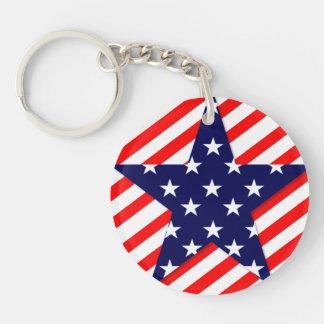 米国の星の円(両面の) Keychain 丸型(両面)アクリル製キーホルダー