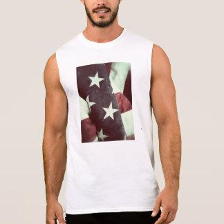 米国の星条旗のグランジな袖なしのTシャツ 袖なしシャツ