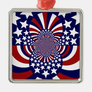 米国の星条旗の愛国心が強いデザイン メタルオーナメント
