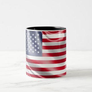 米国の星条旗の旗 ツートーンマグカップ