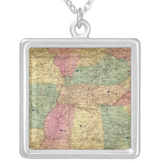 米国の歴史的および軍の地図 シルバープレートネックレス