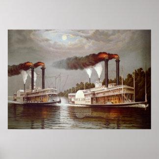 米国の汽船の競争の19世紀 ポスター