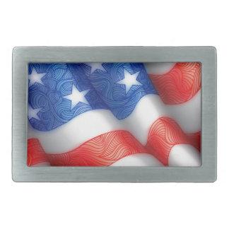 米国の波状の旗の禅の落書きの芸術 長方形ベルトバックル