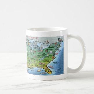 米国の漫画の地図 コーヒーマグカップ
