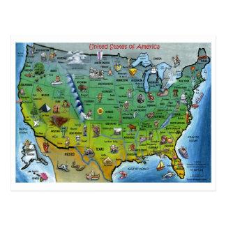 米国の漫画の地図 ポストカード
