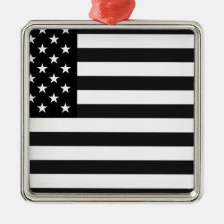 米国の白黒旗 メタルオーナメント