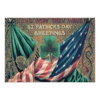 米国の米国旗のアイルランド人のシャムロック カード
