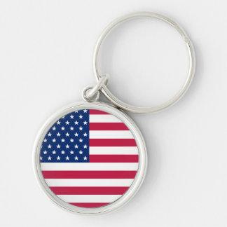 米国の米国旗の愛国心が強い円形の金属Keychain キーホルダー