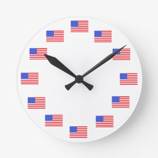 米国の米国旗の愛国心が強い時計 ラウンド壁時計