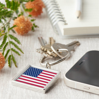 米国の米国旗の愛国心が強い正方形の金属Keychain キーホルダー