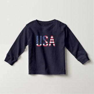 米国の米国旗の文字の白い星の赤い青い縞 トドラーTシャツ