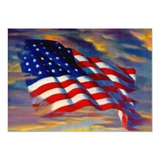 米国の米国旗の波状雲の空白のな招待状 カード