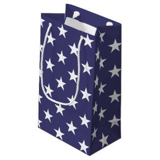 米国の米国旗の白いおよびブルースター スモールペーパーバッグ