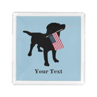 米国の米国旗、7月の第4を持つ黒い実験室犬 アクリルトレー