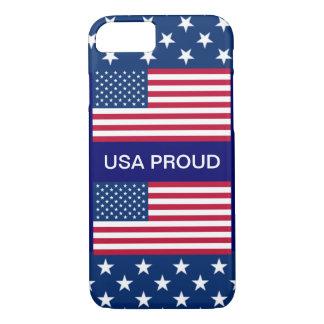 米国の誇りを持ったな星のボーダー2米国旗の濃紺 iPhone 8/7ケース